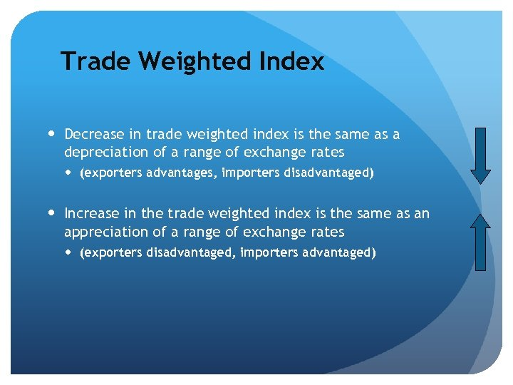 Trade Weighted Index Decrease in trade weighted index is the same as a depreciation