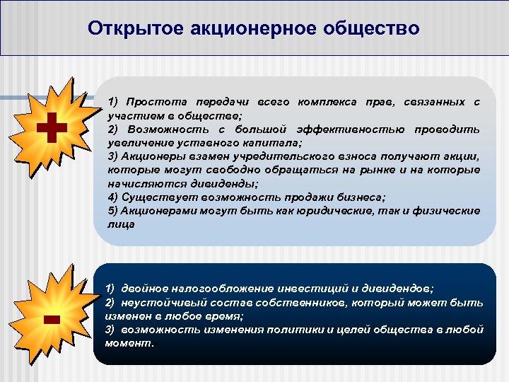 Открытое акционерное общество + - 1) Простота передачи всего комплекса прав, связанных с участием