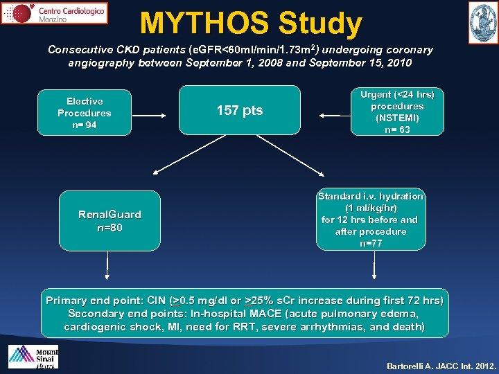 MYTHOS Study Consecutive CKD patients (e. GFR<60 ml/min/1. 73 m 2) undergoing coronary angiography
