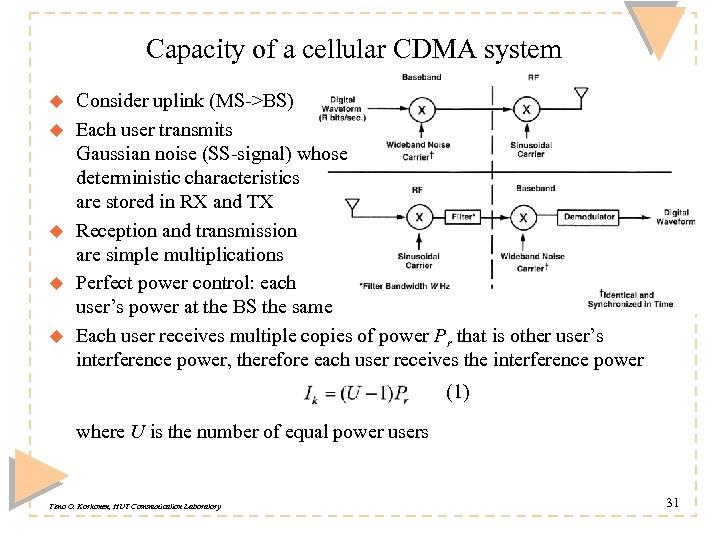 Capacity of a cellular CDMA system u u u Consider uplink (MS->BS) Each user