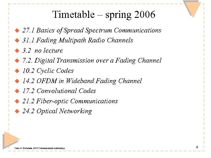 Timetable – spring 2006 u u u u u 27. 1 Basics of Spread