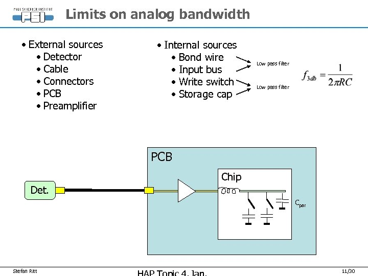 Limits on analog bandwidth • External sources • Detector • Cable • Connectors •