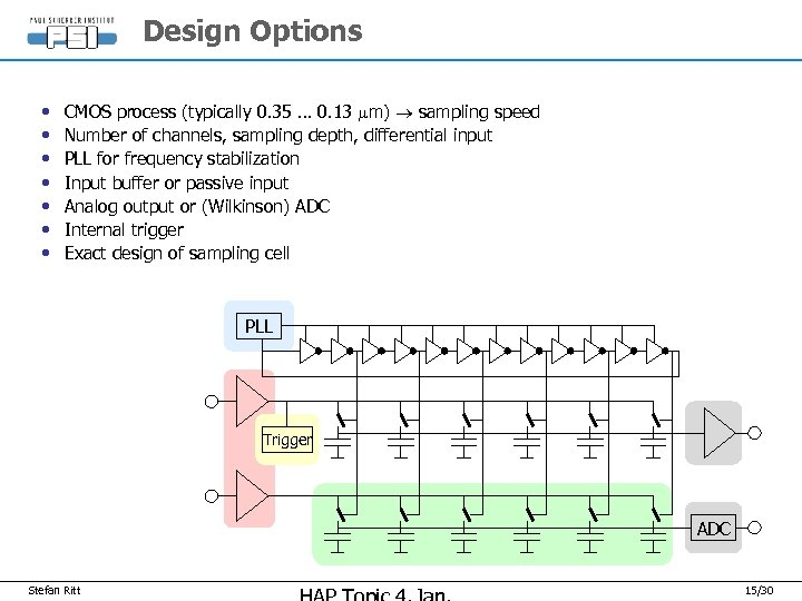 Design Options • • CMOS process (typically 0. 35 … 0. 13 mm) sampling