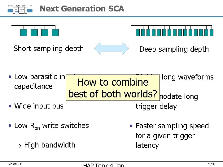Next Generation SCA Short sampling depth • Low parasitic input How capacitance Deep sampling