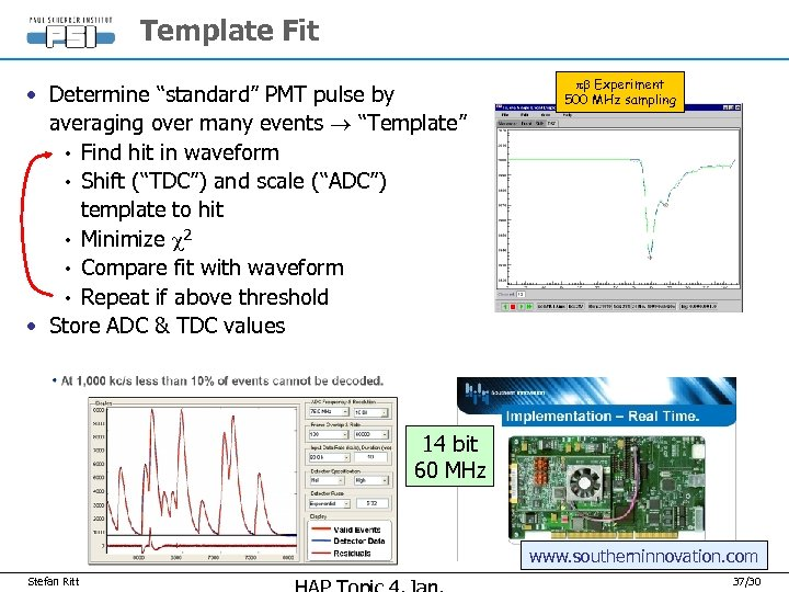 "Template Fit • Determine ""standard"" PMT pulse by averaging over many events ""Template"" •"