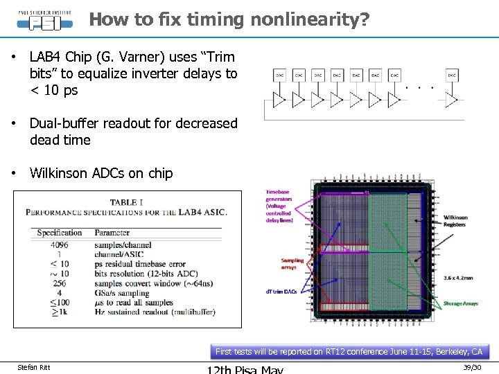 "How to fix timing nonlinearity? • LAB 4 Chip (G. Varner) uses ""Trim bits"""