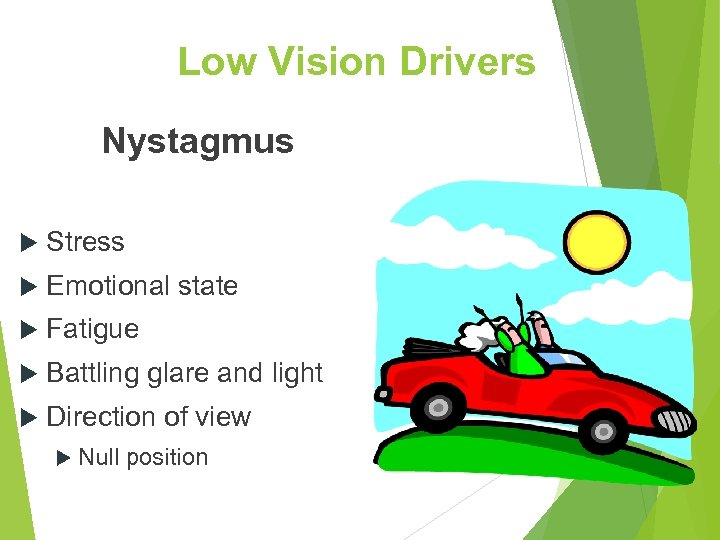 Low Vision Drivers Nystagmus Stress Emotional state Fatigue Battling glare and light Direction of