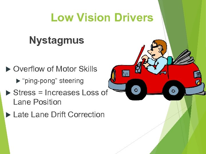 "Low Vision Drivers Nystagmus Overflow of Motor Skills ""ping-pong"" steering Stress = Increases Loss"