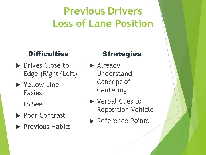 Previous Drivers Loss of Lane Position Difficulties Drives Close to Edge (Right/Left) Strategies Yellow