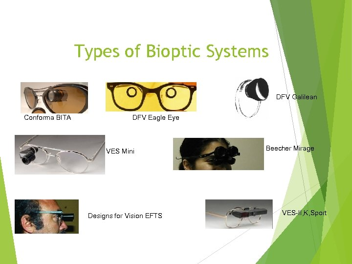 Types of Bioptic Systems DFV Galilean Conforma BITA DFV Eagle Eye VES Mini Designs