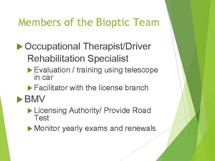 Members of the Bioptic Team Occupational Therapist/Driver Rehabilitation Specialist Evaluation / training using telescope