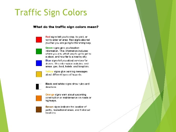 Traffic Sign Colors