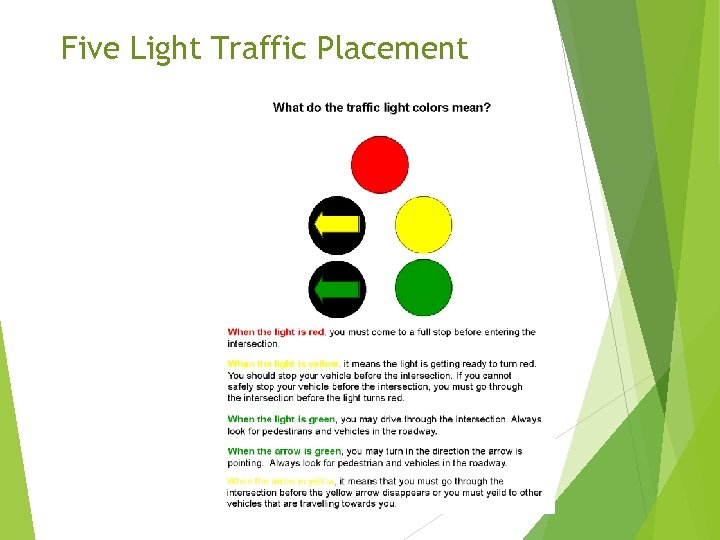 Five Light Traffic Placement