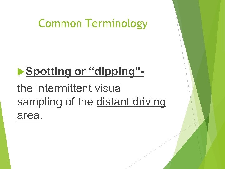 """Common Terminology Spotting or """"dipping""""the intermittent visual sampling of the distant driving area."""