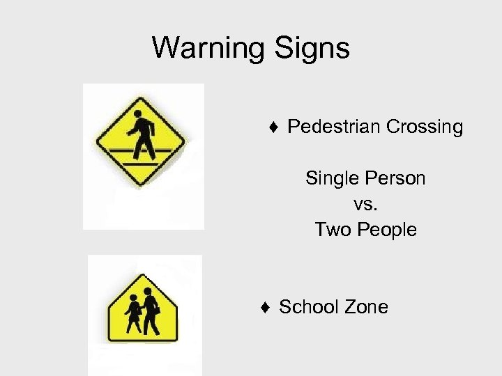Warning Signs ♦ Pedestrian Crossing Single Person vs. Two People ♦ School Zone
