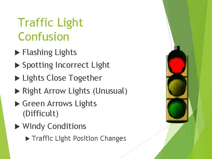Traffic Light Confusion Flashing Lights Spotting Incorrect Lights Close Together Right Arrow Lights (Unusual)