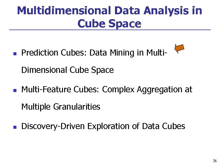 Multidimensional Data Analysis in Cube Space n Prediction Cubes: Data Mining in Multi. Dimensional