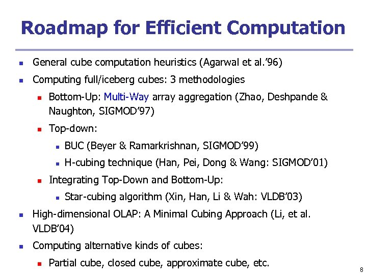 Roadmap for Efficient Computation n General cube computation heuristics (Agarwal et al. ' 96)