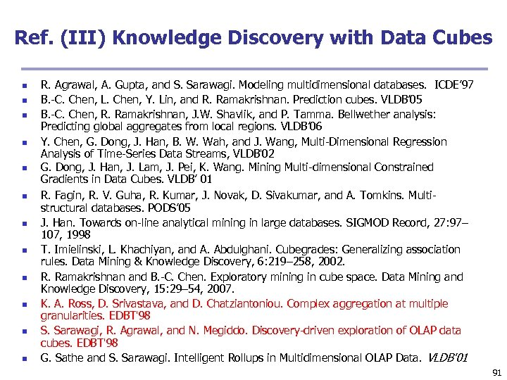 Ref. (III) Knowledge Discovery with Data Cubes n n n R. Agrawal, A. Gupta,