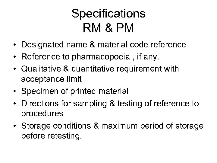 Specifications RM & PM • Designated name & material code reference • Reference to
