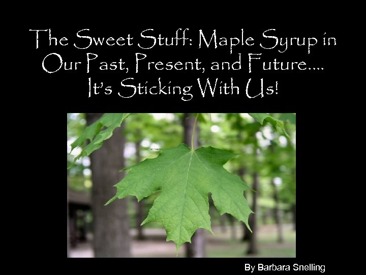 The Sweet Stuff: Maple Syrup in Our Past, Present, and Future…. It's Sticking With