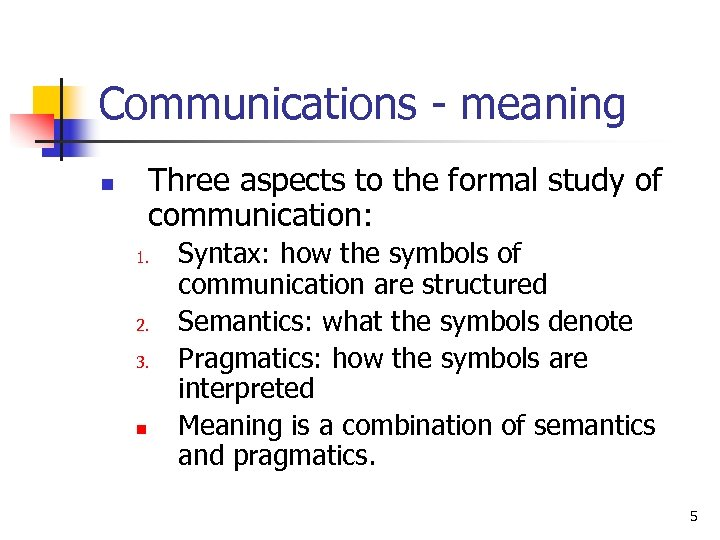 Communications - meaning Three aspects to the formal study of communication: n 1. 2.