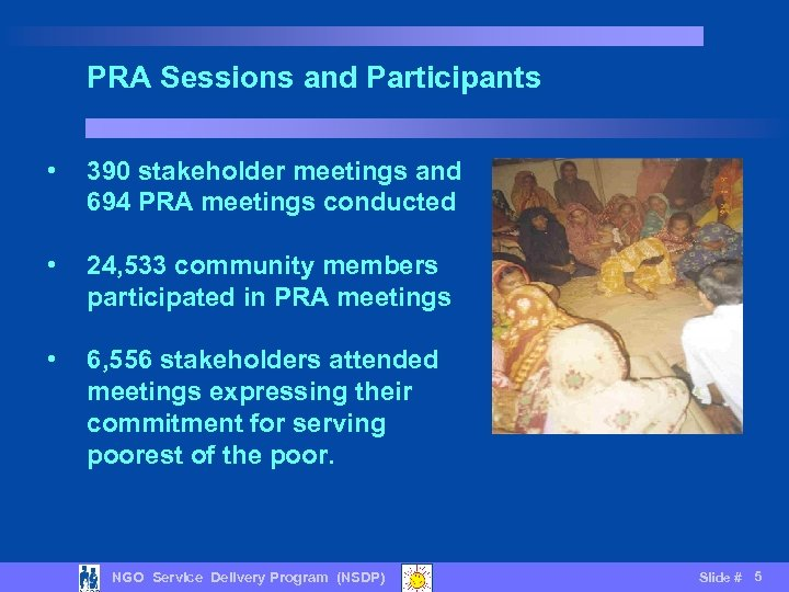 PRA Sessions and Participants • 390 stakeholder meetings and 694 PRA meetings conducted •