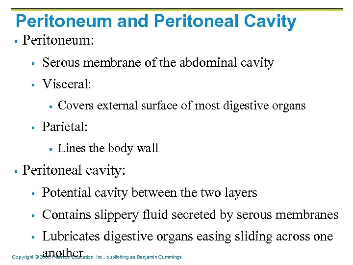 Peritoneum and Peritoneal Cavity § Peritoneum: § Serous membrane of the abdominal cavity §