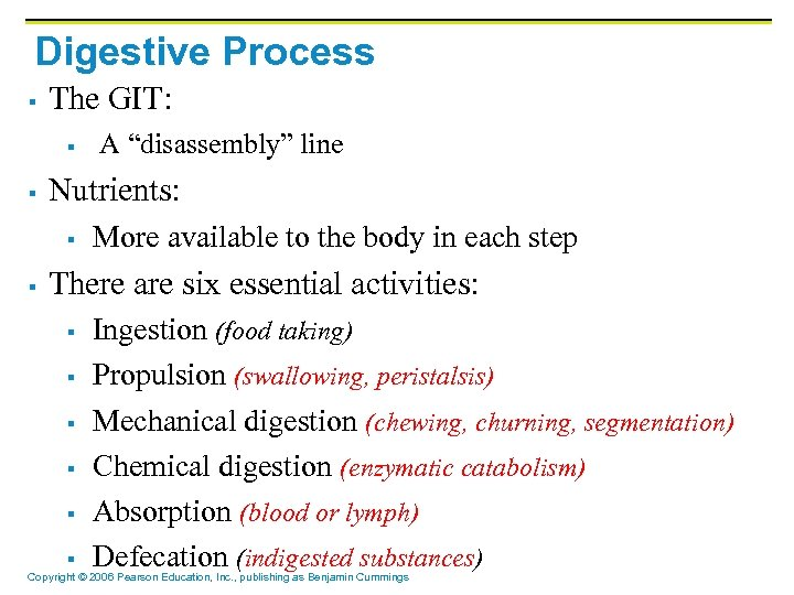 "Digestive Process § The GIT: § § Nutrients: § § A ""disassembly"" line More"