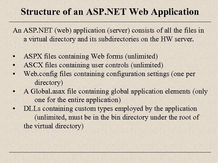 Structure of an ASP. NET Web Application An ASP. NET (web) application (server) consists