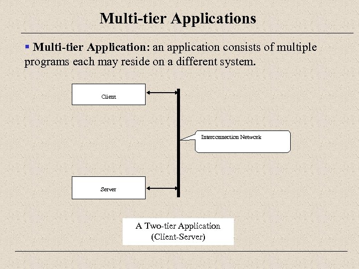 Multi-tier Applications § Multi-tier Application: an application consists of multiple programs each may reside
