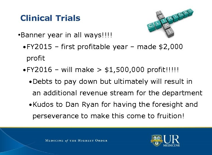Clinical Trials • Banner year in all ways!!!! • FY 2015 – first profitable