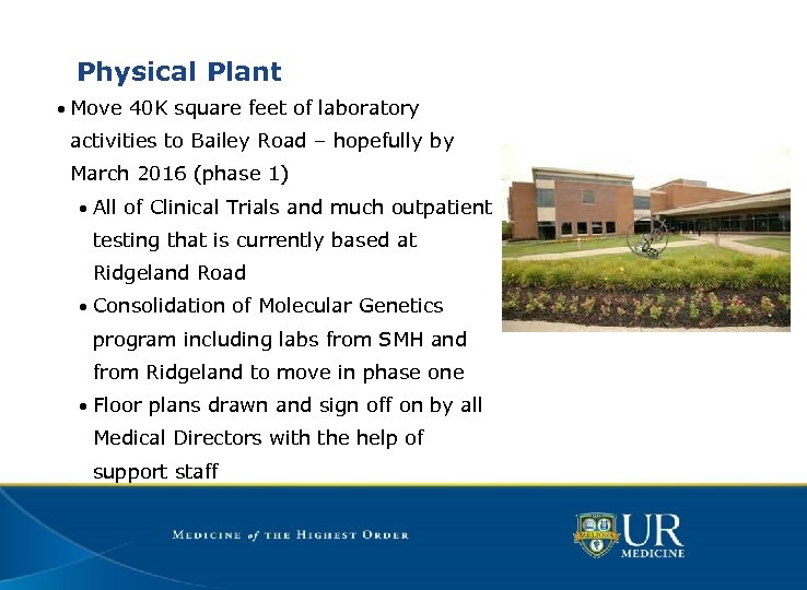 Physical Plant • Move 40 K square feet of laboratory activities to Bailey Road