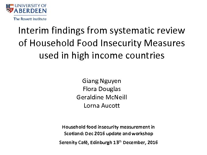 Interim findings from systematic review of Household Food Insecurity Measures used in high income