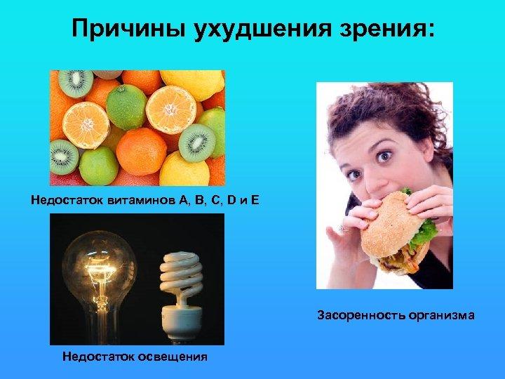 Причины ухудшения зрения: Недостаток витаминов А, В, C, D и Е Засоренность организма Недостаток