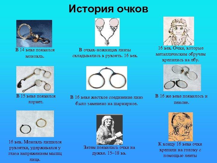 История очков В 14 веке появился монокль. В 15 веке появился лорнет. 16 век.