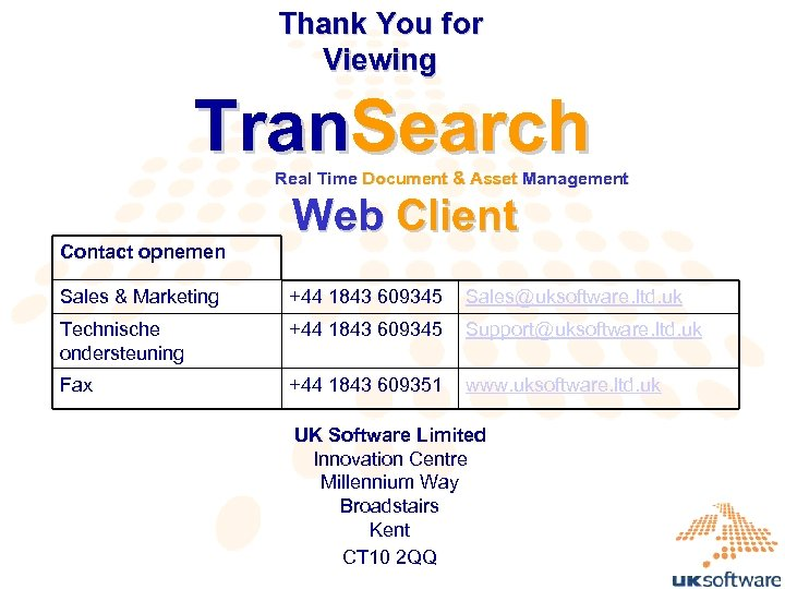 Thank You for Viewing Tran. Search Real Time Document & Asset Management Contact opnemen