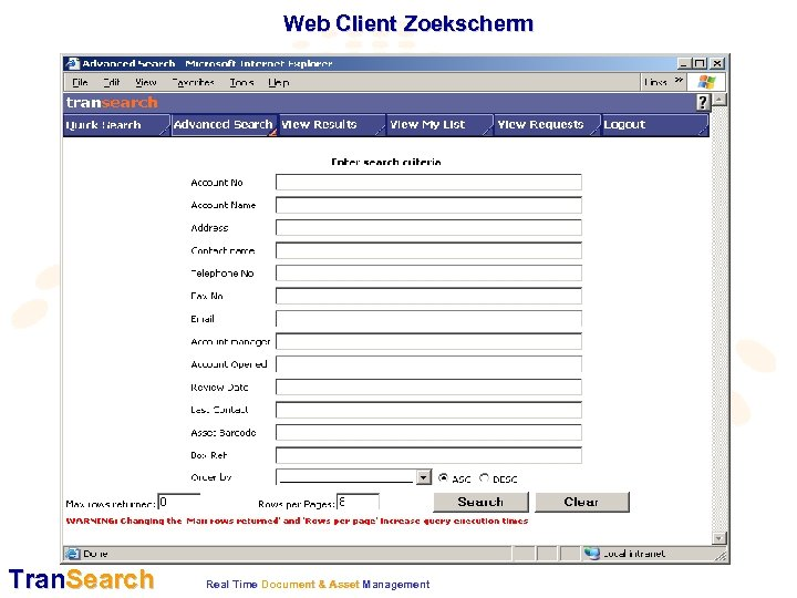 Web Client Zoekscherm Tran. Search Real Time Document & Asset Management