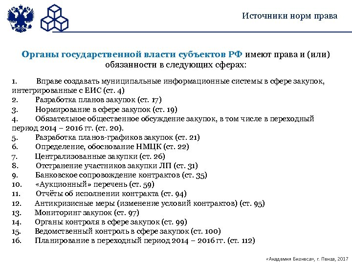 Источники норм права Органы государственной власти субъектов РФ имеют права и (или) обязанности в