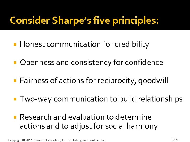 Consider Sharpe's five principles: Honest communication for credibility Openness and consistency for confidence Fairness