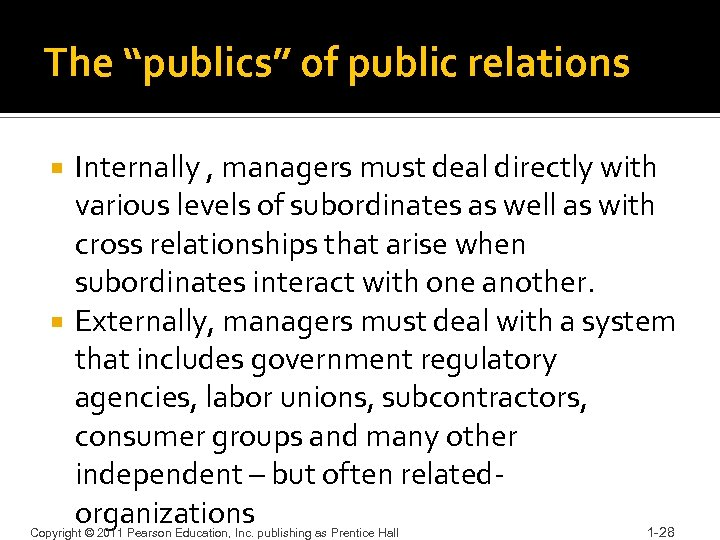 """The """"publics"""" of public relations Internally , managers must deal directly with various levels"""