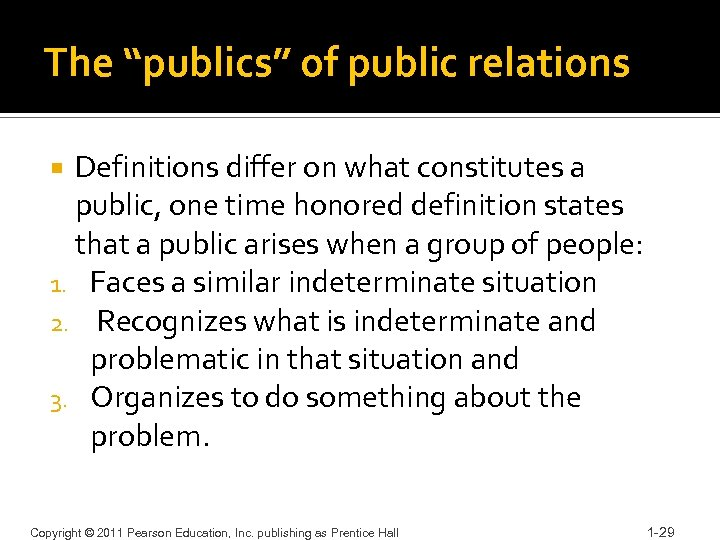 """The """"publics"""" of public relations Definitions differ on what constitutes a public, one time"""