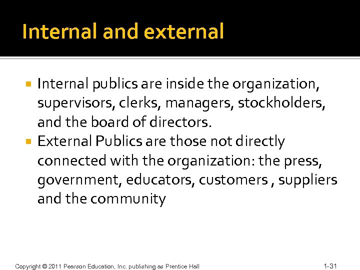 Internal and external Internal publics are inside the organization, supervisors, clerks, managers, stockholders, and