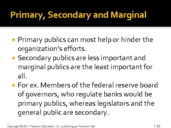 Primary, Secondary and Marginal Primary publics can most help or hinder the organization's efforts.