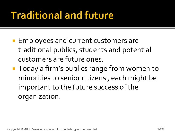 Traditional and future Employees and current customers are traditional publics, students and potential customers
