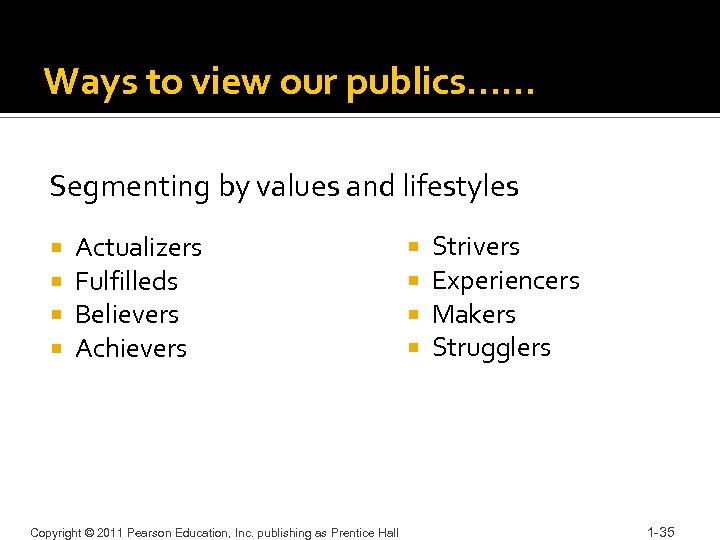Ways to view our publics…… Segmenting by values and lifestyles Actualizers Fulfilleds Believers Achievers