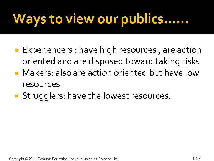 Ways to view our publics…… Experiencers : have high resources , are action oriented