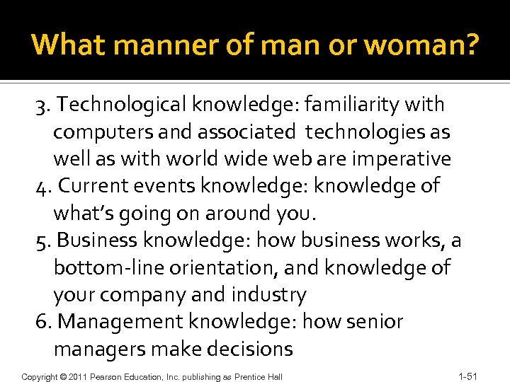 What manner of man or woman? 3. Technological knowledge: familiarity with computers and associated