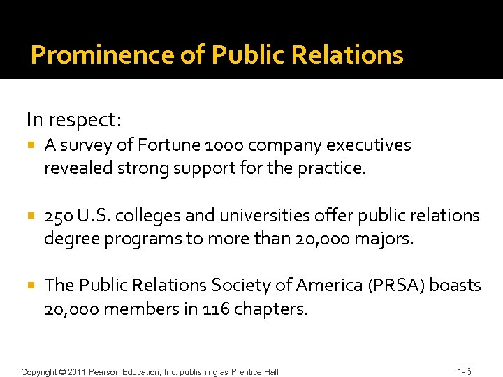 Prominence of Public Relations In respect: A survey of Fortune 1000 company executives revealed