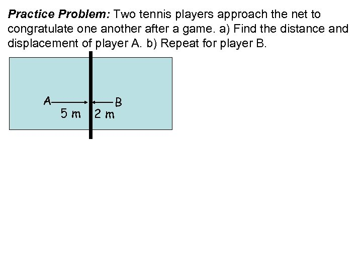 Practice Problem: Two tennis players approach the net to congratulate one another after a